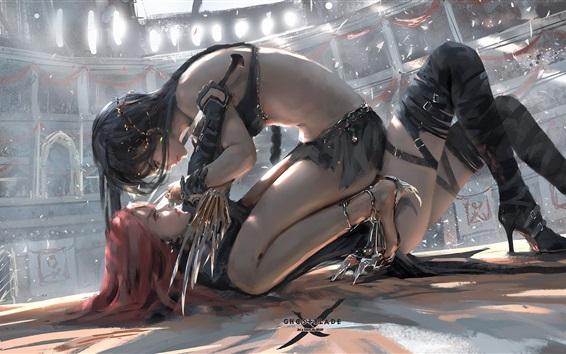 Fondos de pantalla Ghost Blade, duelo de dos chicas, dibujo artístico