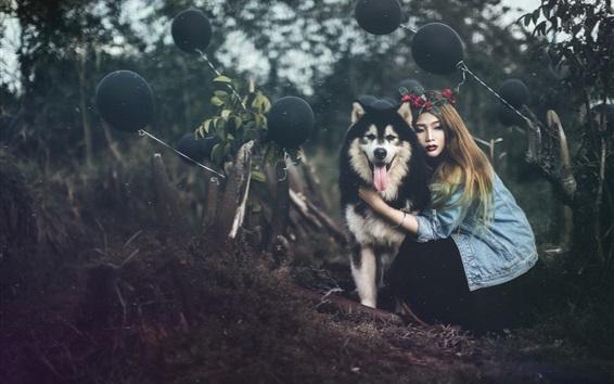 Fond d'écran Fille et son chien husky