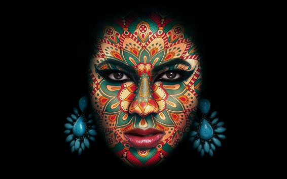 Wallpaper Girl face, makeup, tattoo, black background