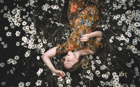 Wallpaper Girl sleep in chamomile flowers field