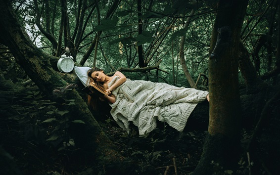 Wallpaper Girl sleep in the forest, read a book