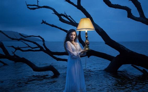 Wallpaper Girl standing in water, lamp, night