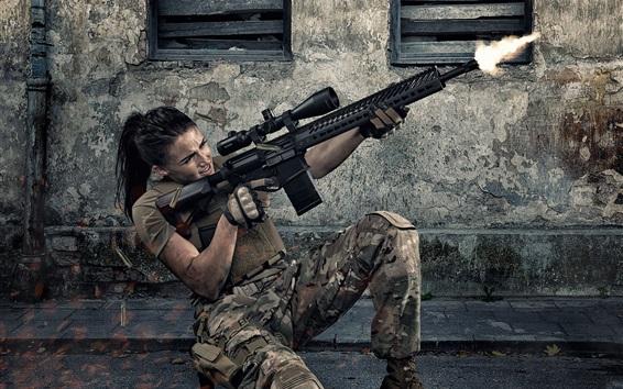 Wallpaper Girl use assault rifle, shooting