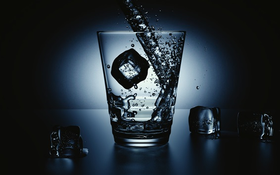 Wallpaper Glass Cup Ice Cubes Water Splash