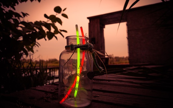 Wallpaper Glow stick, glass bottle, dusk