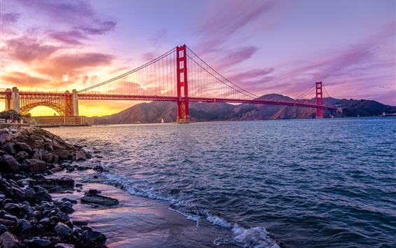 Papéis de Parede Golden Gate Bridge, Califórnia, EUA, mar, nuvens, pôr do sol