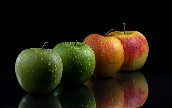 Wallpaper Green and red apples, water drops, black background