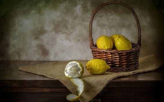 Wallpaper Green lemons, basket