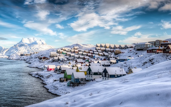 Wallpaper Greenland, Nuuk, Denmark, winter, houses, snow, beautiful