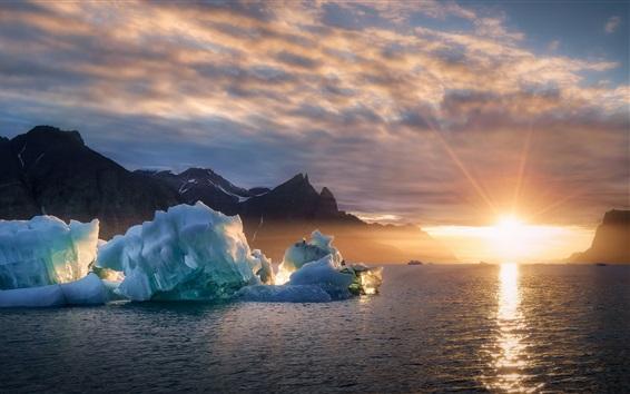 Wallpaper Greenland, ice, sea, sunset, Denmark