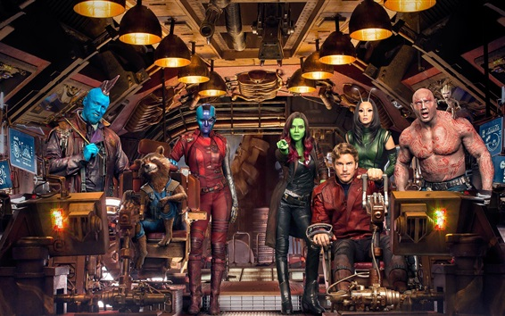 Wallpaper Guardians of the Galaxy Vol. 2, characters in spaceship
