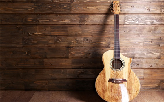 Fondos de pantalla Guitarra, musical, fondo de madera