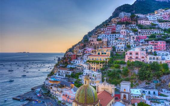 Fond d'écran Golfe de Salerne, côte amalfitaine, Campanie, Italie, belle, ville, mer