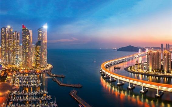 배경 화면 광안 대교, 대한민국, 해, 부두, 고층 빌딩, 황혼, 불빛