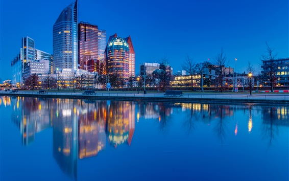 Wallpaper Hague, Netherlands, city night, river, water reflection, lights