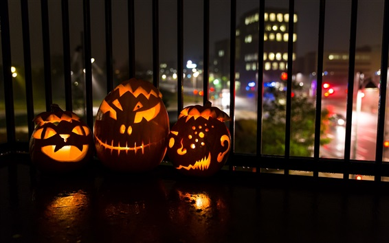 Wallpaper Halloween, pumpkin lanterns, city, night