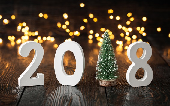 Wallpaper Happy New Year 2018, Christmas tree, lights background