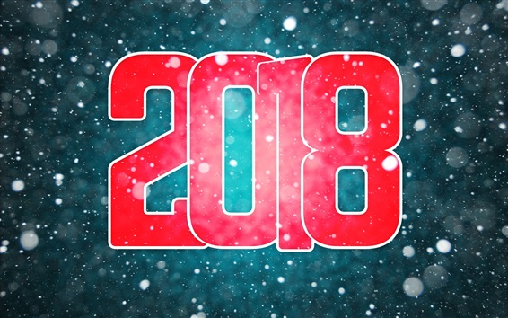 Wallpaper Happy New Year 2018, red, snowy