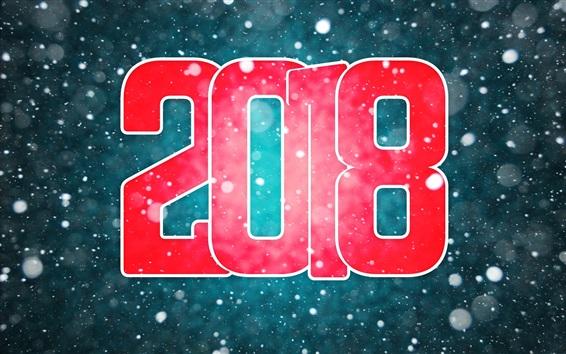 Fond d'écran Bonne année 2018, rouge, neigeux