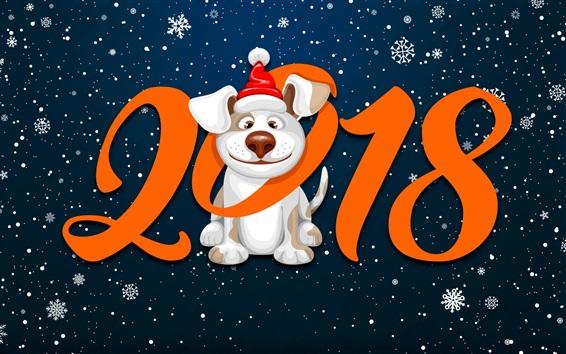 Fond d'écran Bonne année 2018, flocons de neige, chien