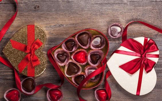 Papéis de Parede Feliz Dia dos Namorados, presente, doce doce de chocolate, coração romântico, amor