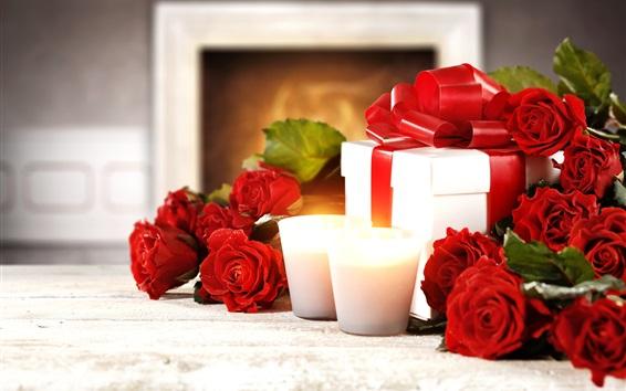Hintergrundbilder Glücklicher Valentinstag, rote Rosen, Kerzen, Geschenke