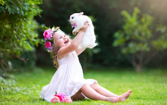 Wallpaper Happy child girl play with white rabbit