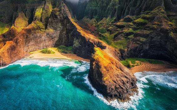Fond d'écran Hawaiian Islands, plage, montagnes, océan, Hawaii, mer, vue de dessus, USA
