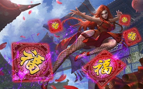 Wallpaper Heroes of Newerth, red hair Chinese girl