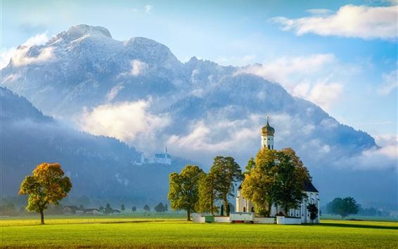 Papéis de Parede Igreja Sagrada de Kalman, Castelo de Neuschwanstein, árvores, gramado, Alemanha