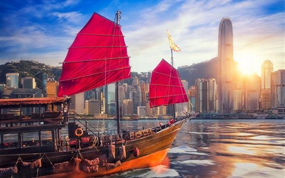 Wallpaper Hong Kong, Victoria Harbour, skyscrapers, ship, sea, sun, China