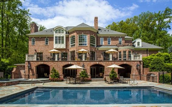 Papéis de Parede Casa, vivenda, piscina