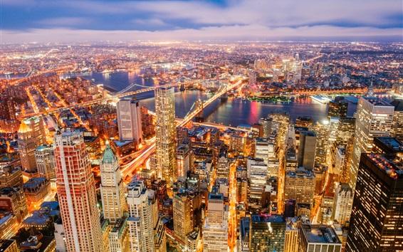 Fond d'écran Hudson river, New York, nuit de la ville, gratte-ciels, pont, routes, lumières, USA