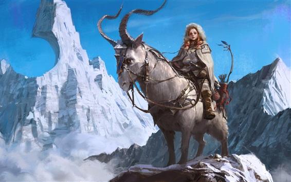 Wallpaper Hunter, sheep, mountains, snow, art drawing