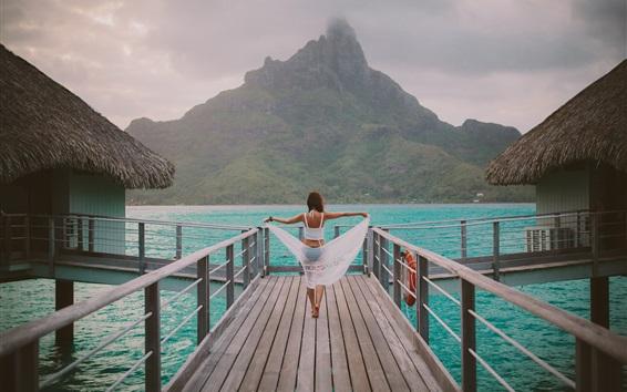 Papéis de Parede Cabana, resort, mar, caminho de madeira, vista traseira da menina
