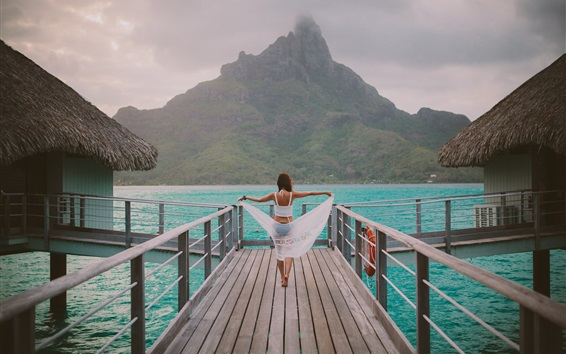 Wallpaper Hut, resort, sea, wood path, girl back view