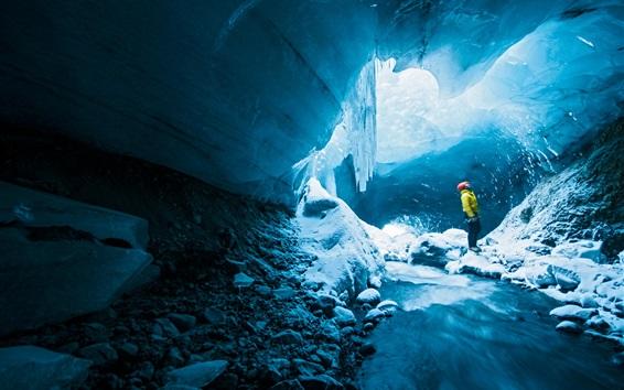 Fond d'écran Grotte de glace, homme, aventure