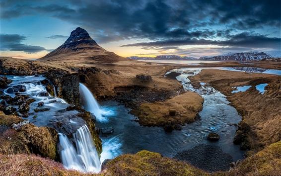 Papéis de Parede Islândia, Península, cachoeira, montanha de Kirkjufell
