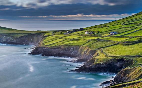 Wallpaper Ireland, County Kerry, sea, house, slope, fields