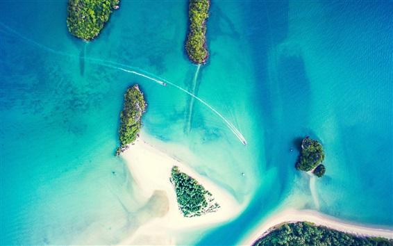 Wallpaper Islands, sea, boats, top view