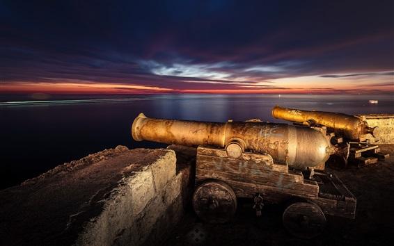 Wallpaper Italy, Puglia, Monopoli town, artillery, night