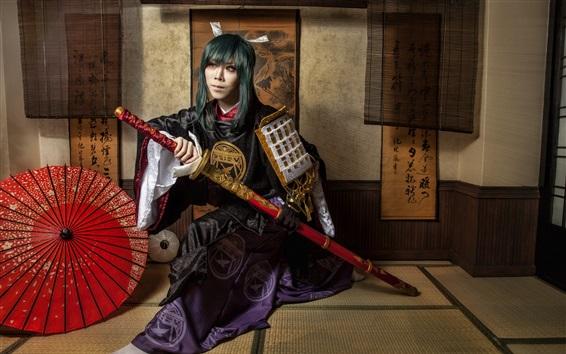 Wallpaper Japanese girl, katana, retro clothing, kimono