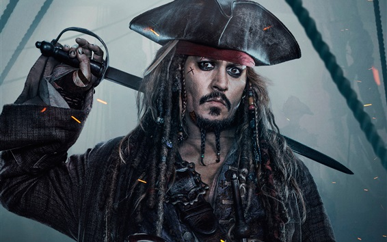 Wallpaper Johnny Depp, Pirates of the Caribbean 5