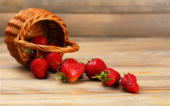 Wallpaper Juicy fruit, strawberry, basket