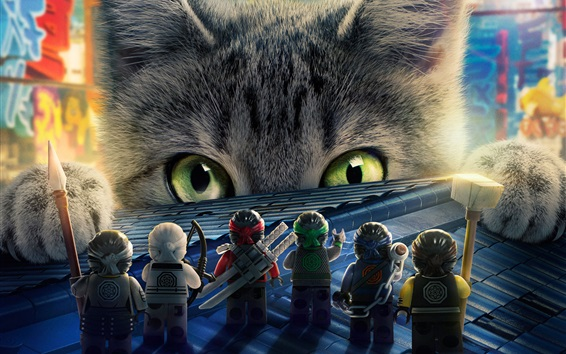 Wallpaper LEGO movie, Ninjago and big cat