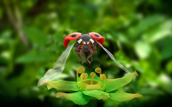 Fond d'écran Coccinelle, fleur verte, macro photographie