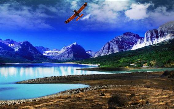 Wallpaper Lake, mountains, forest, coast, blue sky, plane
