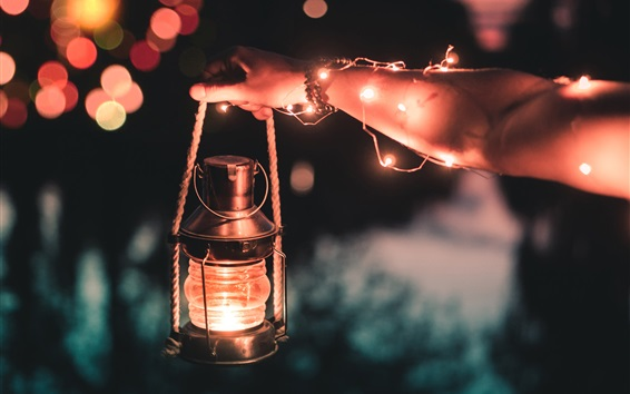 Wallpaper Lantern lamp, lights, hand, night