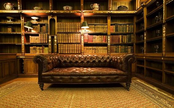 Fond d'écran Bibliothèque, intérieur, livres, lumière chaude