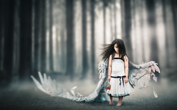 Wallpaper Little angel girl, wings, injured